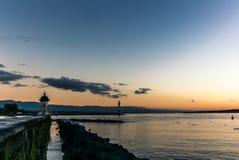 Vuurtoren op het Meer van Genève - 1 Stock Fotografie