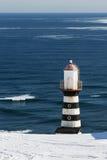 Vuurtoren op kust van Vreedzame Oceaan Stock Afbeeldingen