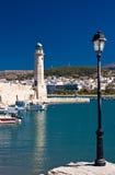 Vuurtoren in Rethymnon, Kreta, Griekenland Royalty-vrije Stock Foto's