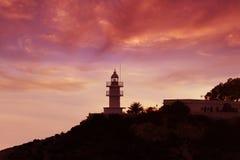 Vuurtoren rode zonsondergang Royalty-vrije Stock Fotografie