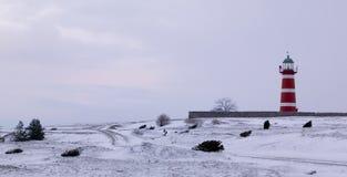 Vuurtoren tijdens winter.JH Royalty-vrije Stock Foto's