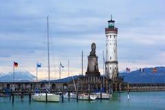 Vuurtoren van Lindau in het Meer van Konstanz (Bodensee) Stock Afbeelding