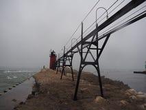 Vuurtorenmeer Michigan in de Winter wordt bevroren die stock foto