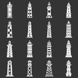 Vuurtorenpictogrammen geplaatst grijze vector Royalty-vrije Stock Fotografie