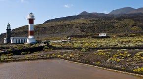 Vuurtorens van Fuencaliente, volcan Teneguia, het eiland van La Palma Stock Afbeeldingen