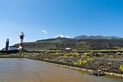 Vuurtorens van Fuencaliente, volcan Teneguia, het eiland van La Palma Royalty-vrije Stock Foto