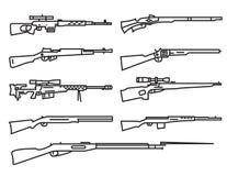 Vuurwapenreeks Kanon, geweer, karabijn Vlak Ontwerp Lineair overzicht Royalty-vrije Stock Afbeeldingen