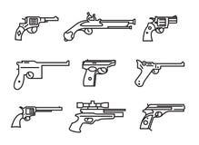 Vuurwapenreeks Kanonnen, pistolen, revolvers Vlak Ontwerp Overzichtslijn royalty-vrije illustratie