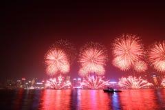 Vuurwerk 2011 van het Nieuwjaar van Hongkong het Chinese Royalty-vrije Stock Foto's