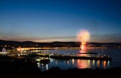 Vuurwerk bij de Baai het Eiland Man van Douglas Royalty-vrije Stock Foto