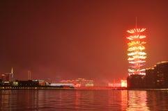 Vuurwerk bij de Kantontoren Guangzhou China stock afbeelding