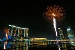 Vuurwerk bij de Olympische Spelen die van de Jeugd (2) openen Stock Afbeelding