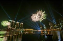 Vuurwerk bij de Olympische Spelen die van de Jeugd (5) openen Royalty-vrije Stock Fotografie