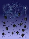 Vuurwerk bij graduatie Royalty-vrije Stock Foto