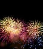 Vuurwerk bij nacht Stock Afbeelding