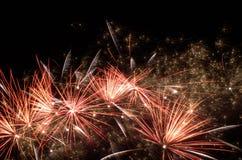 Vuurwerk bij nacht Stock Foto