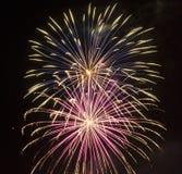 Vuurwerk bij Nacht Royalty-vrije Stock Afbeeldingen
