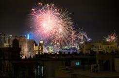 Vuurwerk bij Nacht Royalty-vrije Stock Foto's