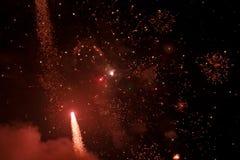 Vuurwerk bij nacht in hemel 1 royalty-vrije stock afbeelding