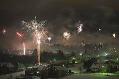 Vuurwerk bij Nieuwe Vooravond Yearâs Royalty-vrije Stock Fotografie