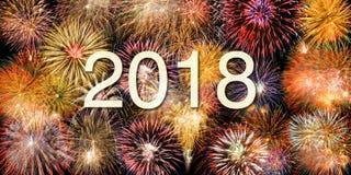 Vuurwerk bij silvester en nieuwe jarenvooravond 2018 stock fotografie