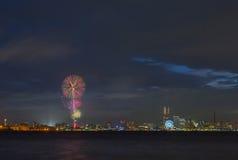 vuurwerk 2015 bij Yokohama-bayside Royalty-vrije Stock Fotografie