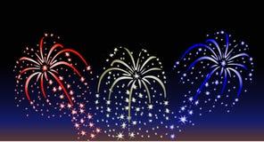 Vuurwerk bij Zonsondergang Royalty-vrije Stock Foto's