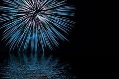 Vuurwerk in Blauw stock afbeelding