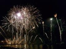 Vuurwerk boven het overzees royalty-vrije stock afbeelding