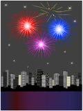 Vuurwerk boven stad vector illustratie
