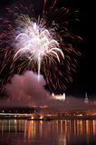 Vuurwerk in Bratislava Stock Afbeelding