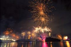 Vuurwerk in Brisbane - 2014 Stock Afbeelding