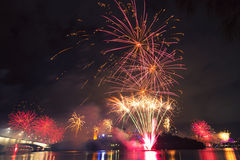 Vuurwerk in Brisbane - 2014 Stock Afbeeldingen