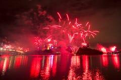 Vuurwerk in Brisbane - 2014 Royalty-vrije Stock Afbeeldingen