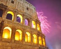 Vuurwerk in Colosseum, Nieuwjaar 2012 Stock Foto