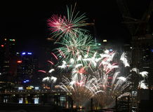 Vuurwerk, Darling Harbour, Sydney Stock Afbeelding