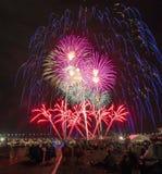 Vuurwerk, de Ballonfiesta van Albuquerque stock foto