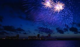 Vuurwerk in de Donkerblauwe Hemel Stock Afbeelding