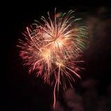 Vuurwerk in de donkere hemel Royalty-vrije Stock Foto's