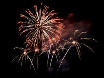 Vuurwerk in de donkere hemel Royalty-vrije Stock Afbeelding