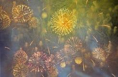 Vuurwerk in de donkere nachthemel Stock Foto's