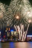 Vuurwerk de Mening van van Hongkong, Victoria Royalty-vrije Stock Foto's