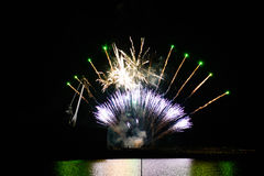Vuurwerk in de nachthemel Stock Afbeelding