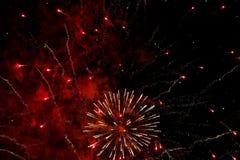 Vuurwerk in de nachthemel Stock Fotografie