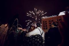 Vuurwerk in de nachthemel Multicolored Vuurwerk bij Nacht stock foto