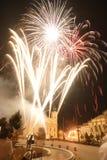 Vuurwerk in de stad Stock Foto's