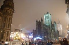Vuurwerk in de stad van Gent stock foto's