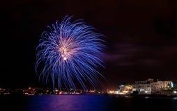 Vuurwerk in de stad van Sebastopol Royalty-vrije Stock Foto's