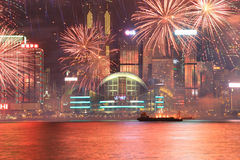 Vuurwerk die het Chinese nieuwe jaar in Hong Kong vieren Stock Foto