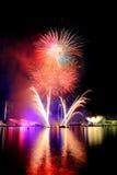 Vuurwerk door de baai Stock Foto's